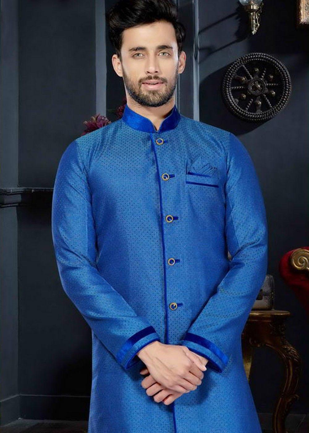 Readymade blue sherwani in art silk decked with mandarin neck