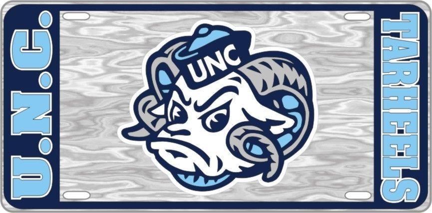 UNC University of North Carolina Tarheels - Ram - Mirrored License Plate - Car Truck SUV