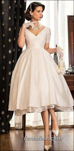 111 elegant tea length wedding dresses vintage (15)