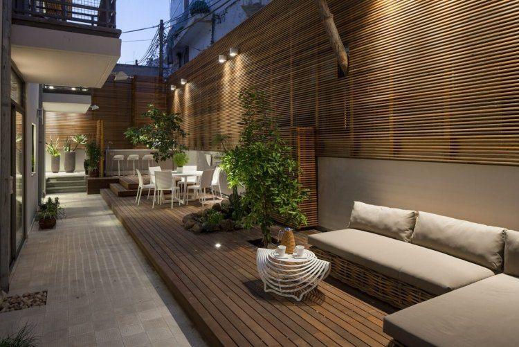 Brise Vue En Bois Sur La Terrasse D Un Appartement De Ville Moderne