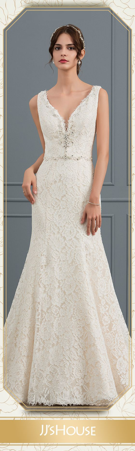Trumpetmermaid vneck cathedral train lace wedding dress with