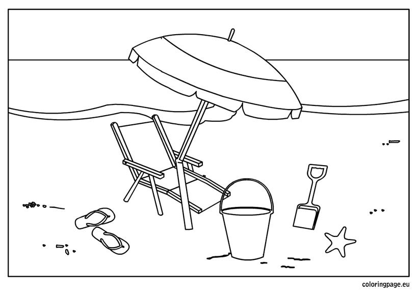 Summer beach coloring page Summer