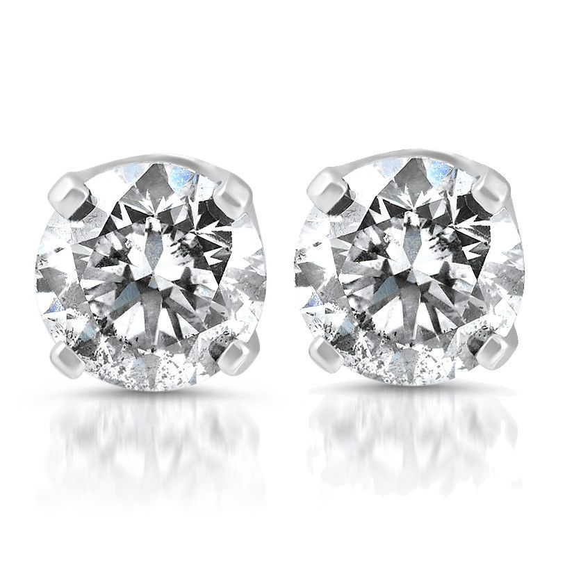 Details About 14k White Gold 1 5 Carat Real Round Diamond 4 Prong Studs Solitaire Earrings Solitaire Earrings Gold Diamond Earrings Studs Diamond Earrings Studs