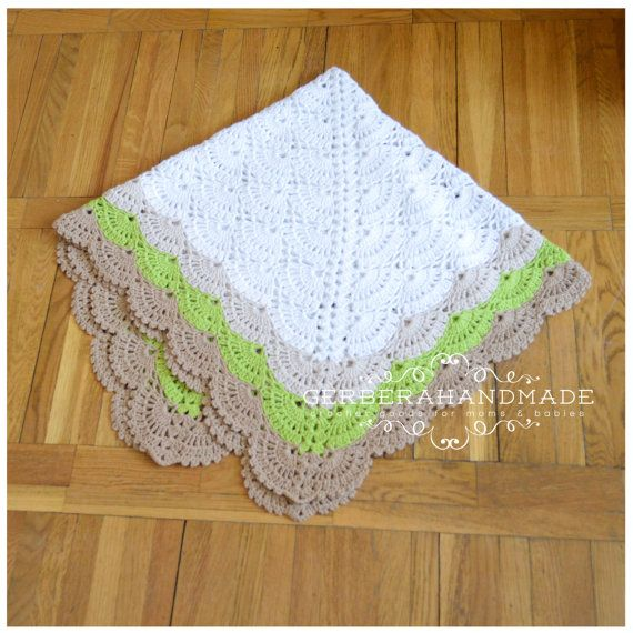 Eco baby blanket Crochet Baby Blanket Cotton by GerberaHandmade
