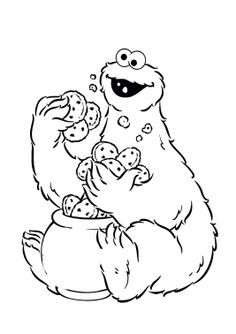Cookie Jar Coloring Page Cookie Monster Holding A Lot Of Cake