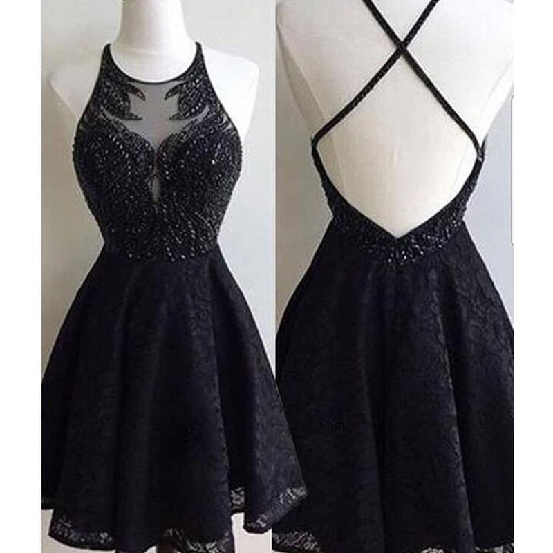 Black Short Prom Dresses with Straps 2018