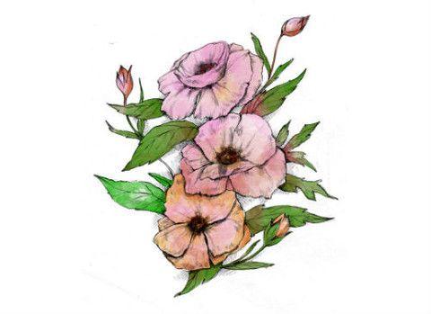 Watercolor Pink Vintage Flower Temporary Tattoo Mytat Com Temporarytattoo Flower Vintage Flower Tattoo Watercolor Flowers Bohemian Flowers
