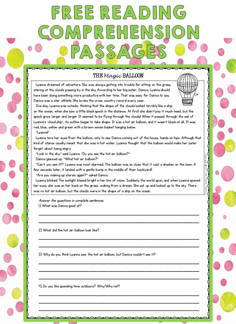hight resolution of Free Reading Passages   Third grade reading comprehension passages