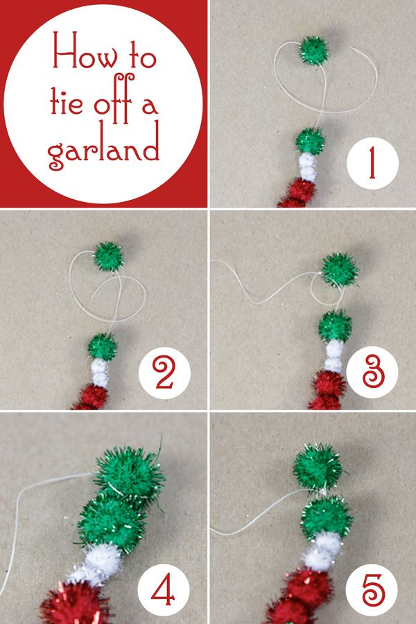 how to tie off a pom pom or beaded garland at hands occupied