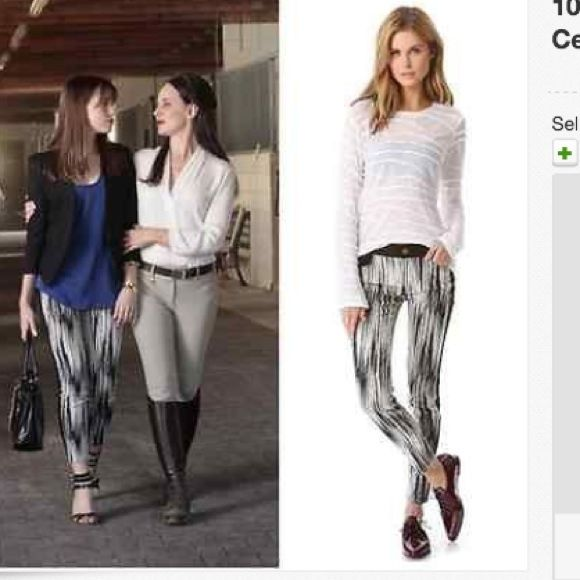 """Crosby DerekLam Graphic Ikat TuxedoSlim Pant New without tags.  10 CROSBY DEREK LAM  Graphic Ikat Print Tuxedo Stripe Stretch Slim Pants  Seen On Celebrities  Worn By Charlotte Grayson (played by Christa Allen) on television show """"Revenge""""!   10 CROSBY DEREK LAM trousers feature a chic contrasting graphic print, tuxedo stripes, button closure and zip fly, belt loops and pockets. Inseam: approx. 29 1/2"""". Fabric: 74% cotton/24% polyamide/2% elastane. 10 Crosby Derek Lam Pants Trousers"""