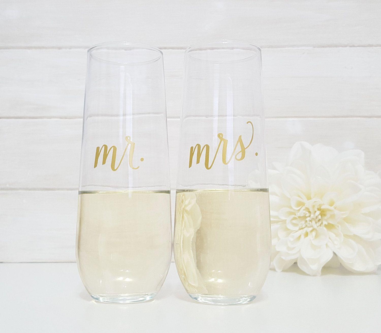 Mr & Mrs. Stemless Champagne Flutes / Wedding Toasting Flutes ...