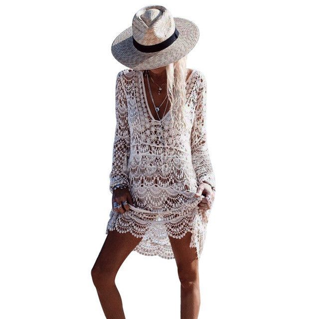 iSHINE Women Beach Blouse Cover Ups Hollow Out Knitted Shirt Summer Crochet Lace Blouses Sexy Perspective Tops