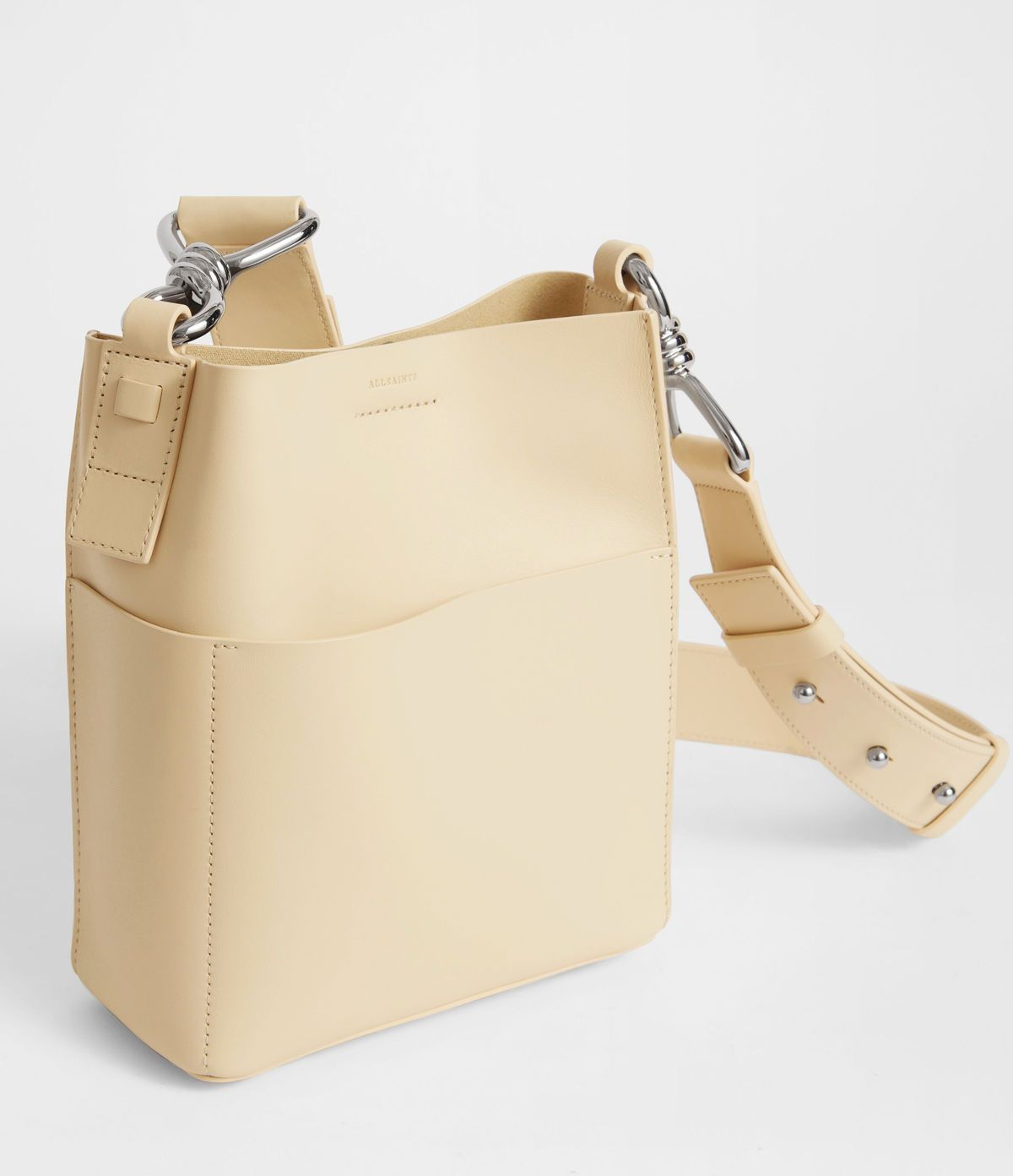 67b75b4cd9 ALLSAINTS US: Womens Captain Leather North South Crossbody Bag (cream_white)