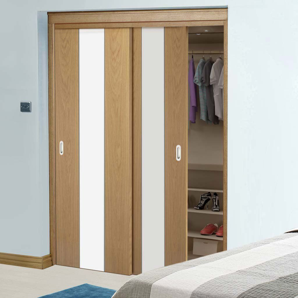 Thruslide Pescara White And Oak Flush 2 Door Wardrobe And Frame Kit Prefinished Lifestyle Image Contemporry Bedroom Kast Slaapkamer Garderobe Ontwerp