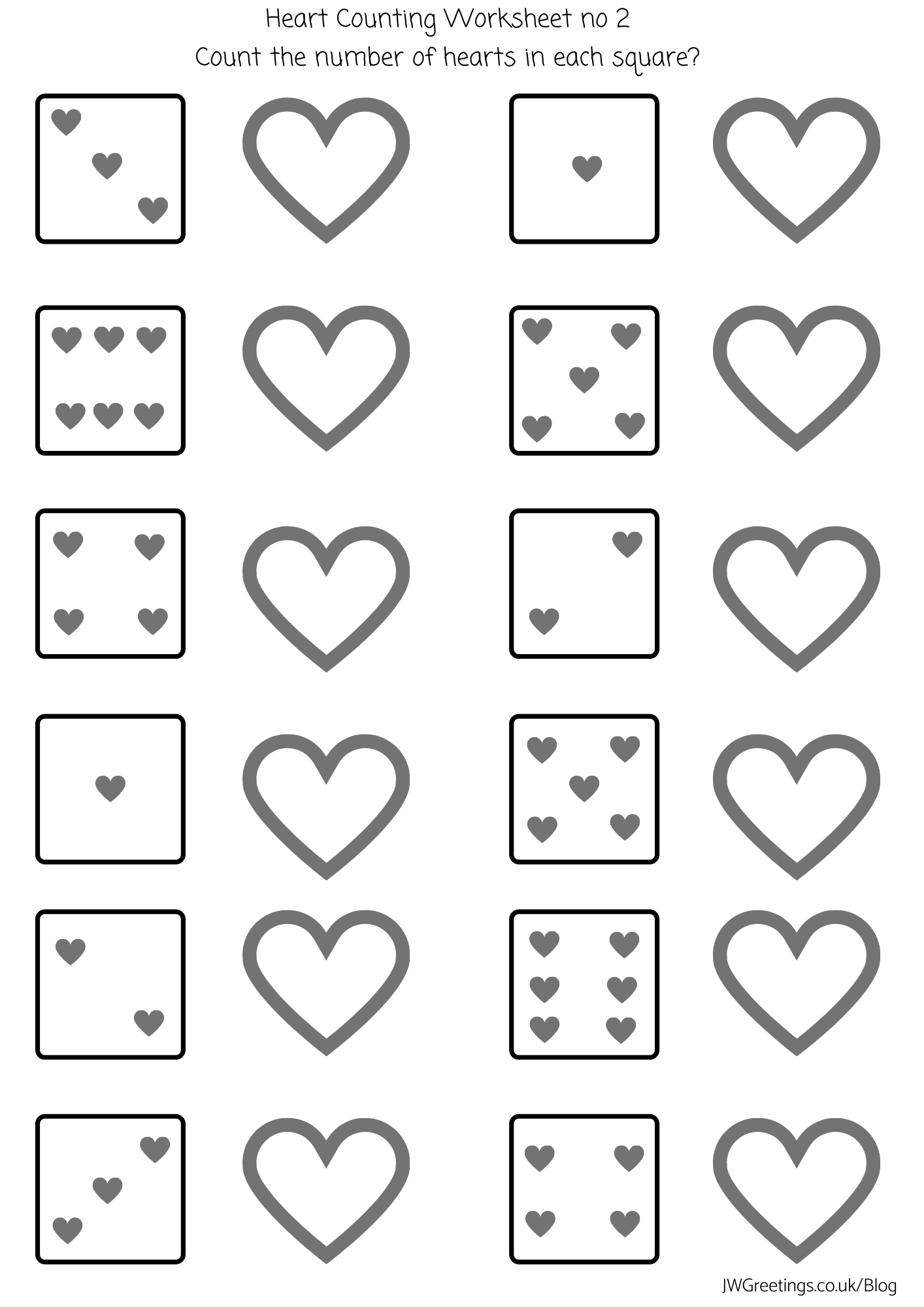 Hearts Counting Worksheet Preschool No 2