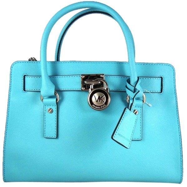 7ee912ba17b5 Pre-owned Michael Kors Hamilton Saffiano Leather East West Aquamarine...  ($290) ❤ liked on Polyvore featuring bags, handbags, aquamarine, michael  kors ...