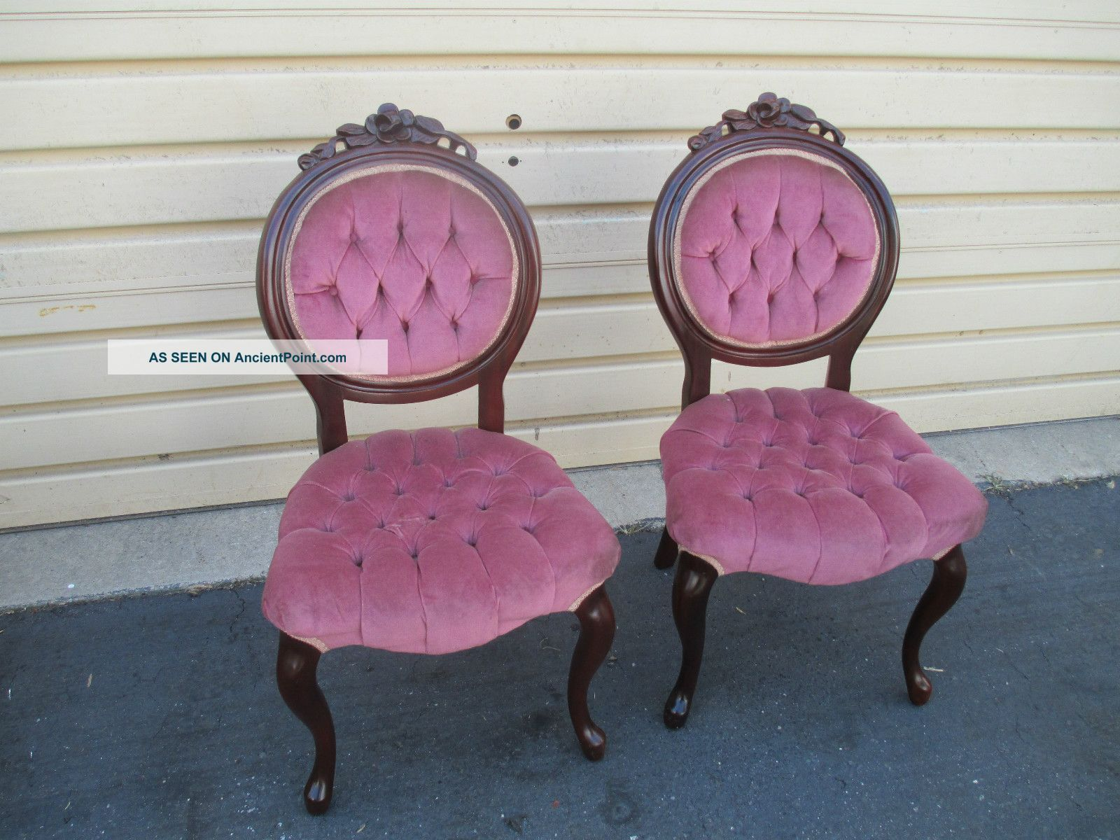 Victorian style furniture chair - 52203 Pair Victorian Style Kimball Rose Carved Tufted Boudoir Chairs Post 1950 Photo