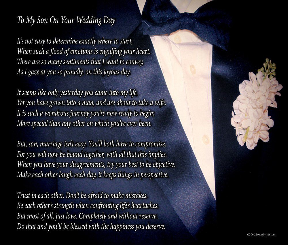 Amazon Com To My Son On Your Wedding Day One Parent Poem Print
