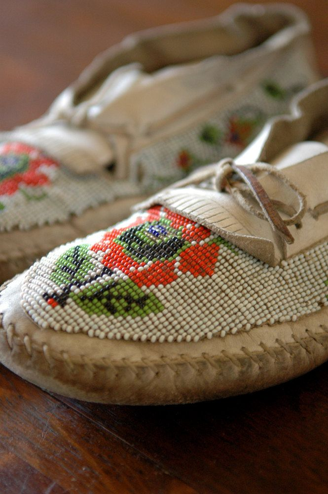 Antique Beaded Moccasins  White Wilderness