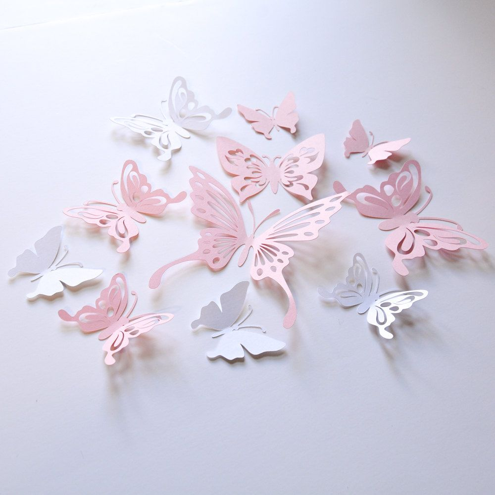 16 Baby Pink and Gold Paper Butterflies. Custom order | Paper ...