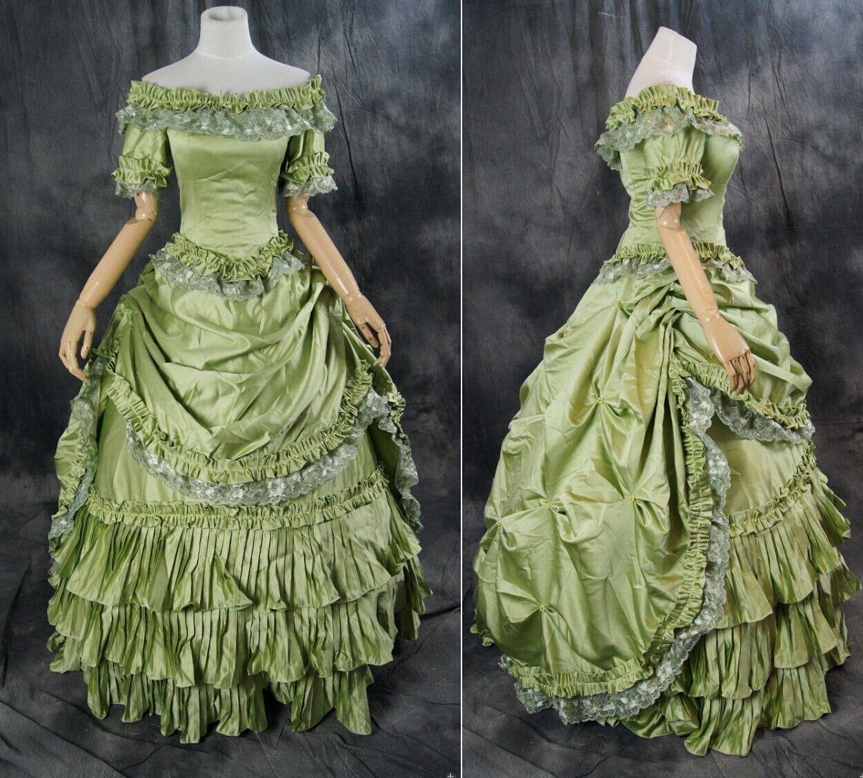 H-9 S/M/L/XL/XXL grün Gothic Victorian Rococo Ballkleid costume