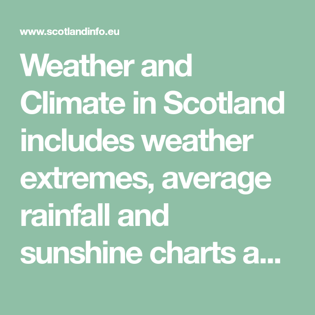 Weather And Climate In Scotland Includes Weather Extremes Average Rainfall And Sunshine Charts And The Five Day Weather Forecast For The Highlands