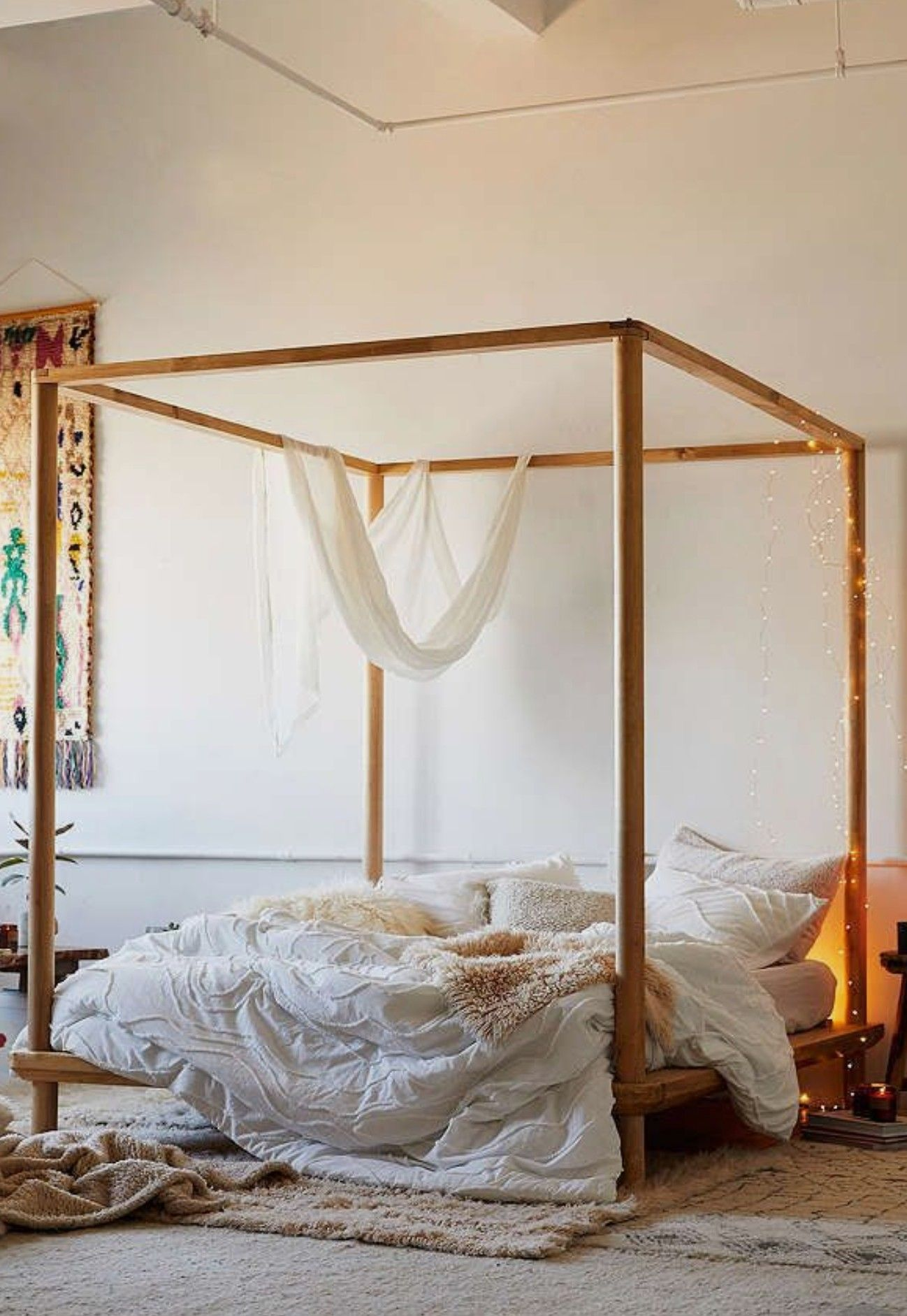 Love it 💓 Wooden canopy bed, Wooden canopy, Canopy bed
