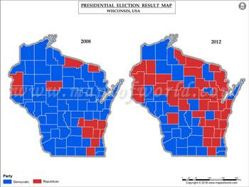 Wisconsin Election Results Map 2008 Vs 2012 | USA President\'s ...