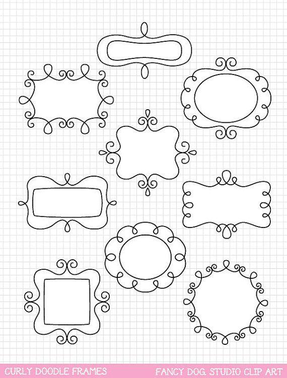 Sale 60 Off Clip Art Doodle Frames Digital Borders Downloadable Clip Art Images Cute Digital Frame Instant Do Doodle Frames Bullet Journal Doodles Doodles