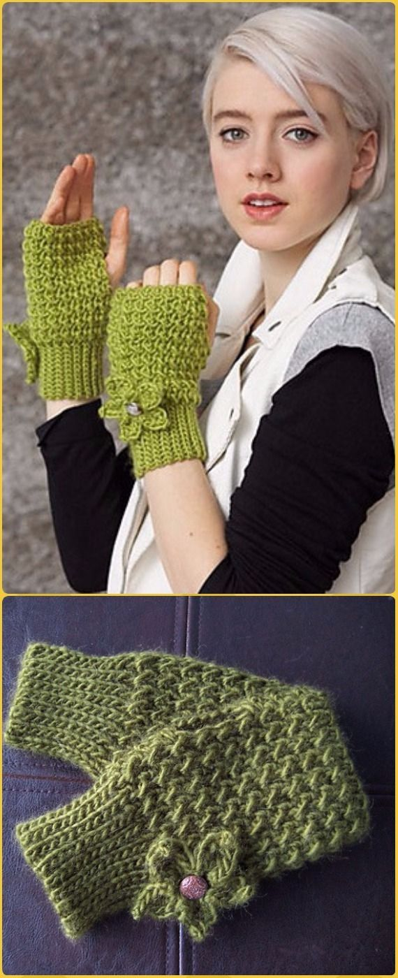 Crochet Fingerless Gloves Wrist ArmWarmer Free Patterns | Free ...