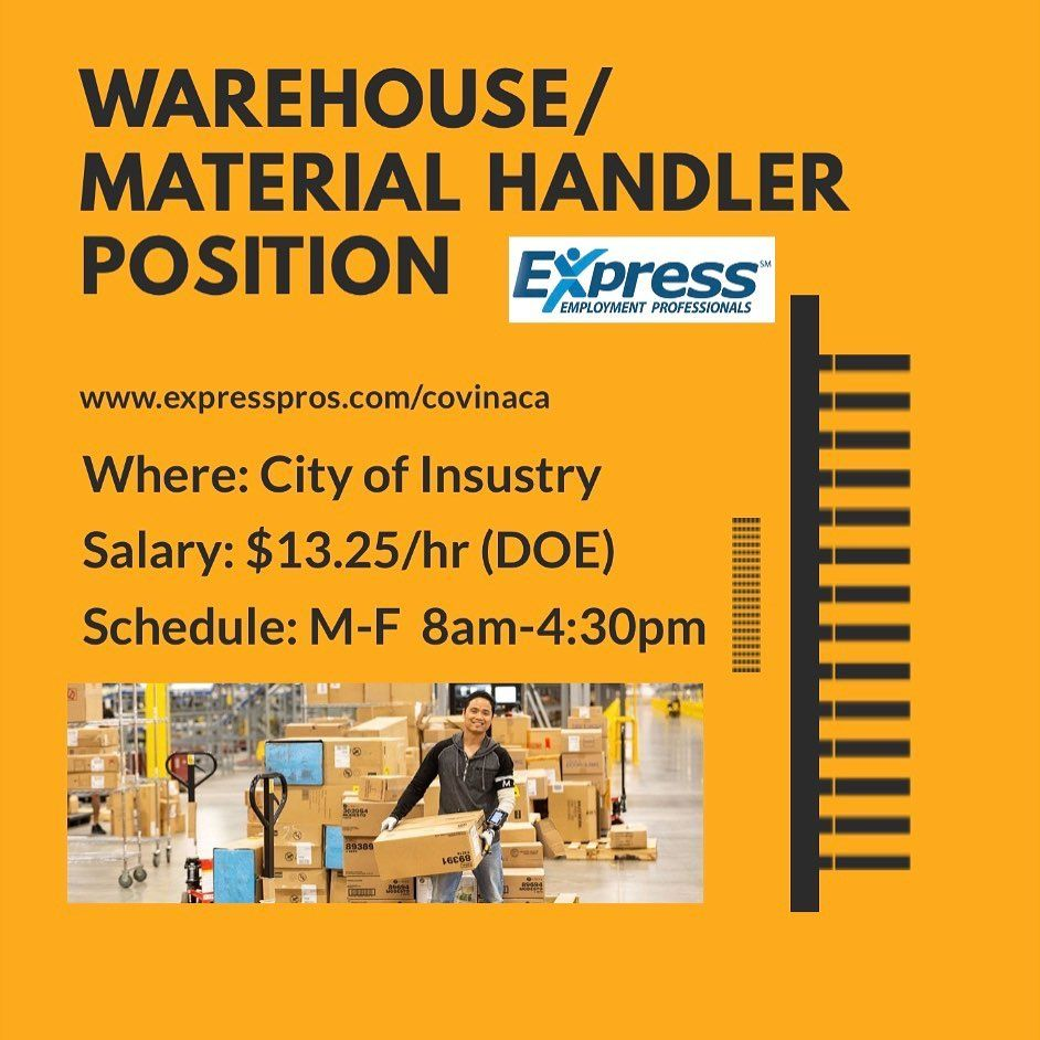 Warehouse Material Handler Position Apply Https Ift Tt 33xwhjo Where City Of Industry Ca Schedule 1st Shift M F 1 8 0 We Are Hiring Job Fair Jobs Hiring