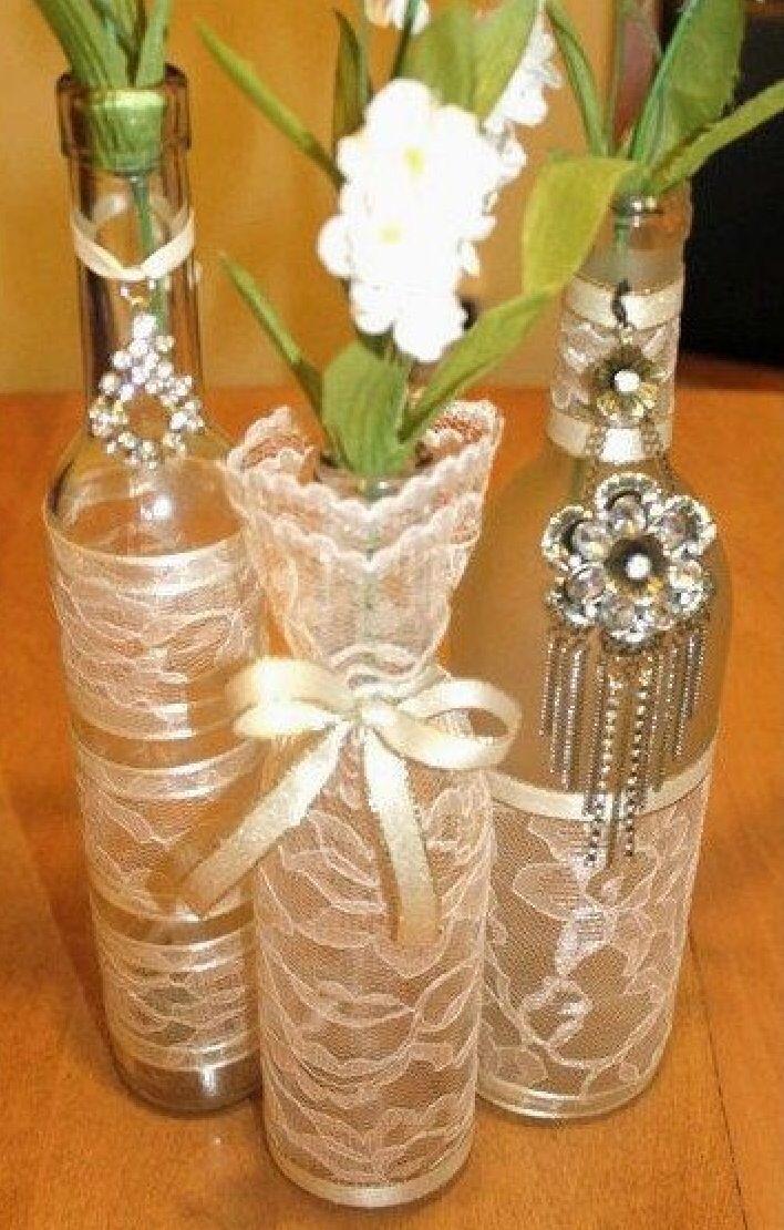 Vintage Glass Centrepieces Wine Bottle Centerpieces Bottle