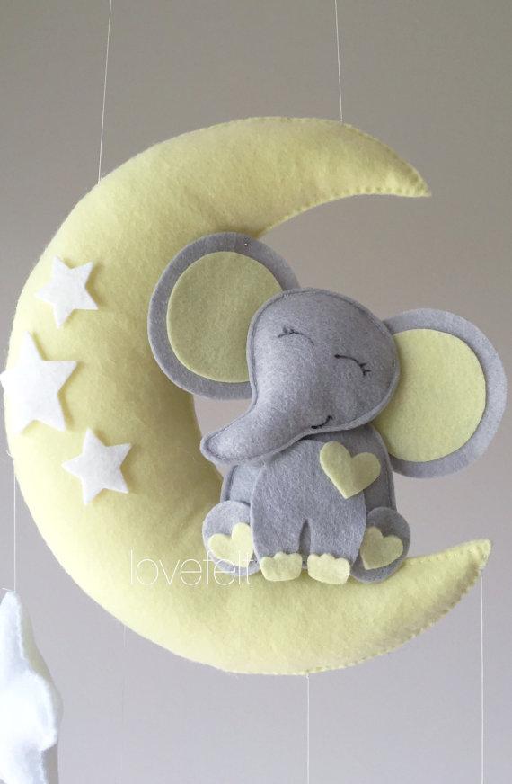 Bébé éléphant mobile – éléphant mobile – Mobile lit de bébé – bébé mobile éléphant – sur le mobile de lune – étoiles de Mobile bébé – lune mobile – neutre