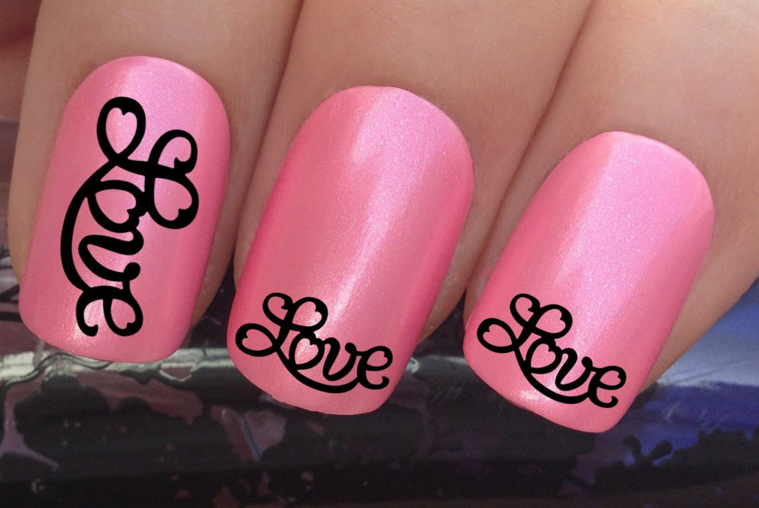 Valentines Nail Decals 299 Love Swirl Lettering Water Transfers