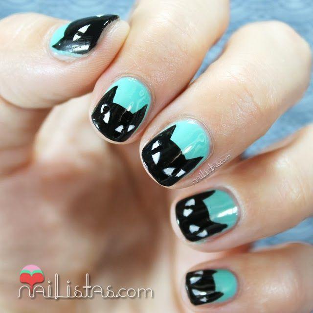 Black Cat Nails & Essie Mint Apple Candy Nail Art https://www ...