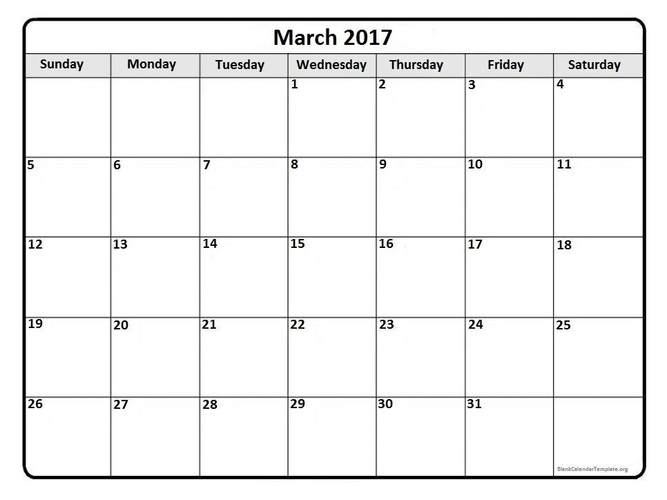 March 2017 monthly calendar template Printable calendars - calendar template pdf