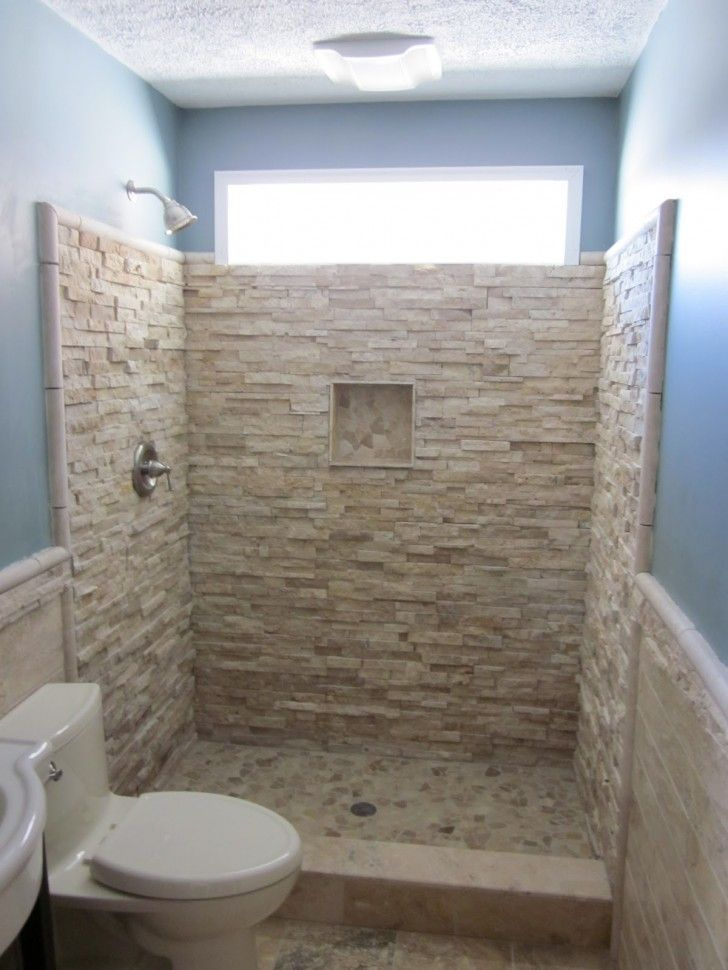 Stacked Rock Wall Tile Stone Built In Shelf Natural Shower