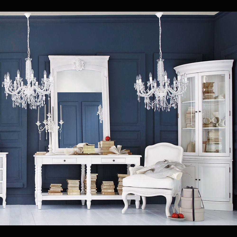 Miroir trumeau en sapin blanc h 160 cm sillon blanco for Miroir trumeau blanc