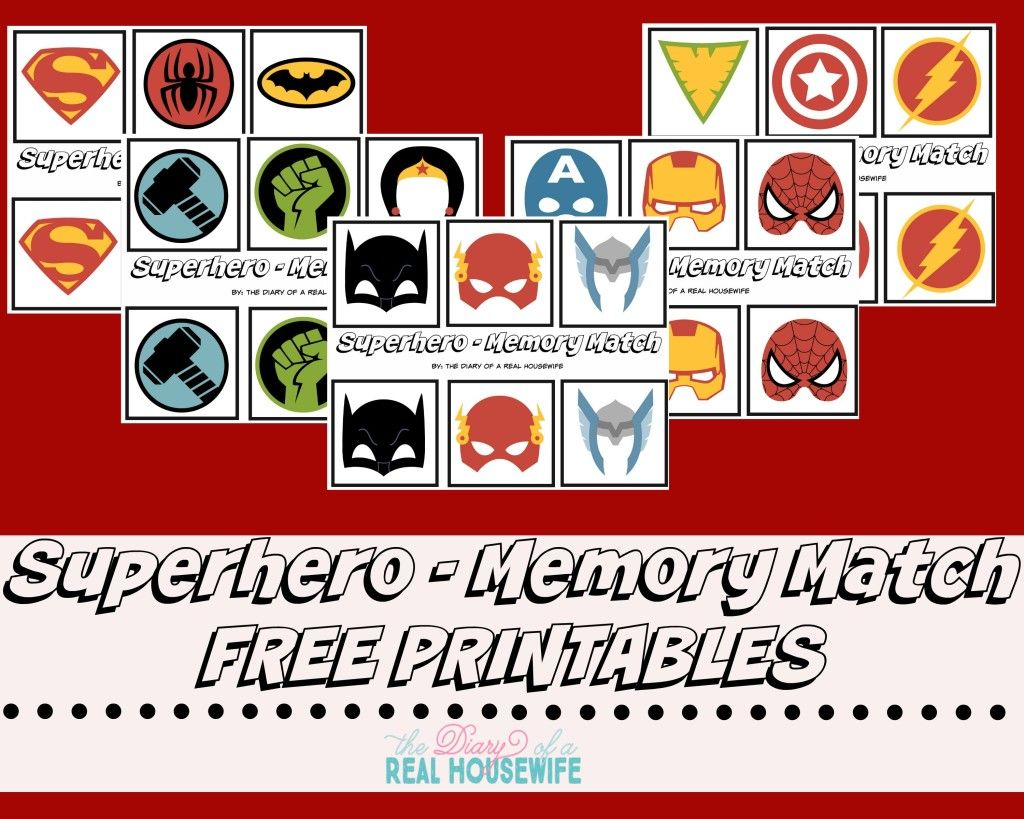Superhero Memory Match Free Printable Diy Your Own