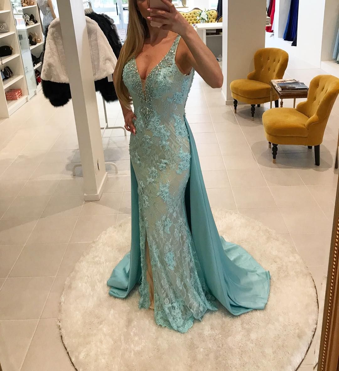 Sexy lace evening dress mermaid beading v ღ prom dress
