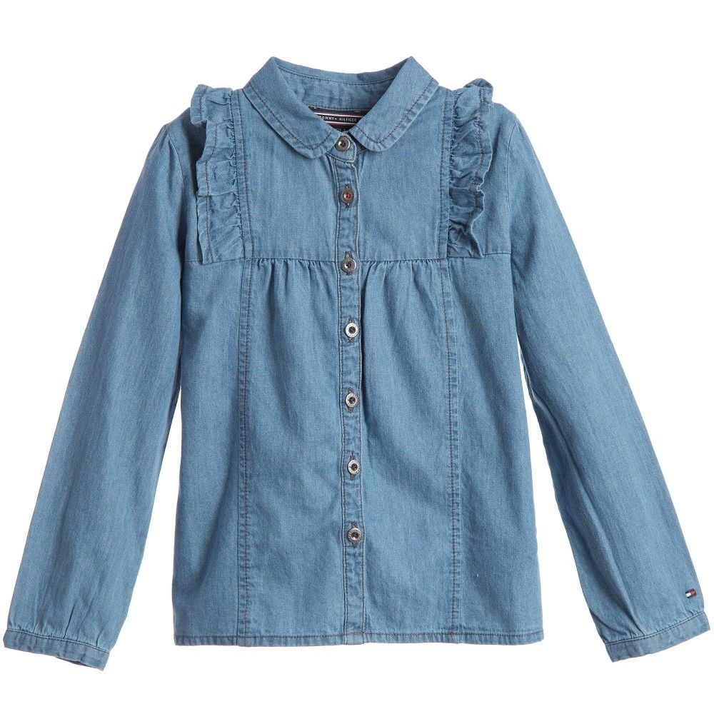 Girls blue denim blouse by tommy hilfiger made in soft and
