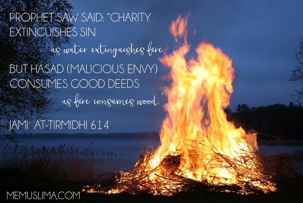 Charity to sins = Water to fire Hasad to good deeds = Fire to wood #Hadeeth #Deeds #Hasad #Jealousy #Islam #Muslim