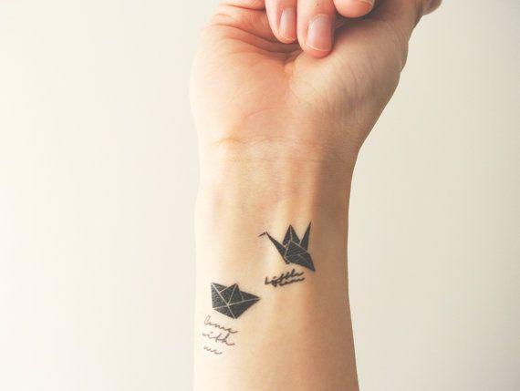 2pcs Ensemble Grue D Origami Et Love Boat Tatouage Par Inknart Tatoo