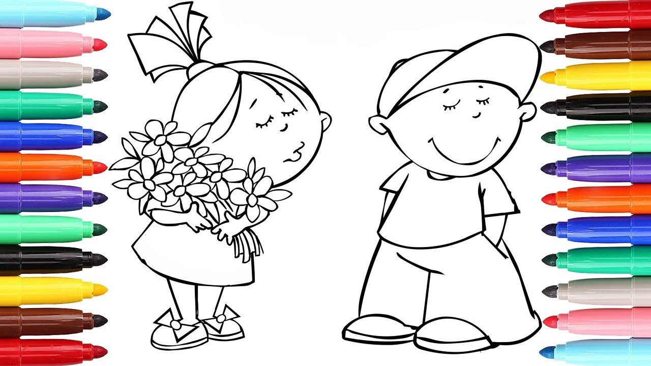 Funny Girl And Boy Coloring Pages L Kids Drawing Videos For Kid