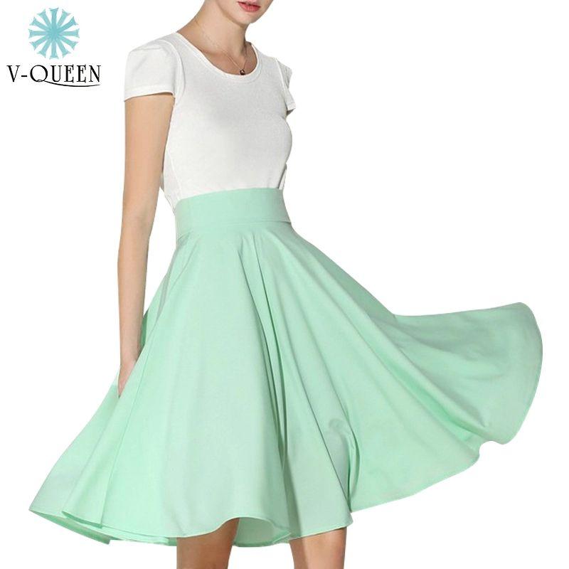 V-Queen Women Chiffon Skirts 2016 Summer Elegant Candy Colors High Waist Flared Swing Pleated Midi Saias Plus Size XL B1506115