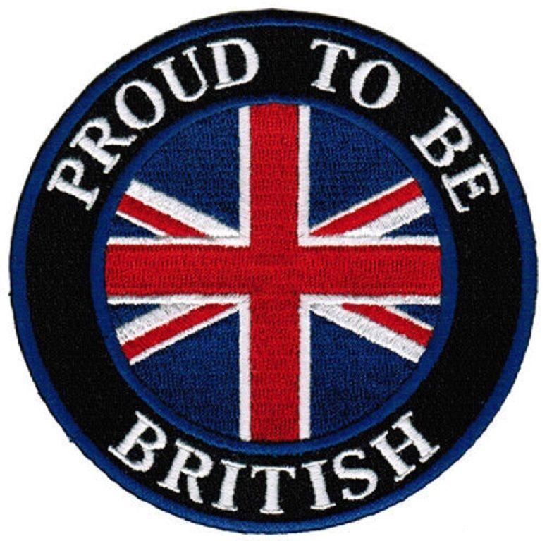Proud British Biker UK Union Jack GB British Flag Iron On Embroidered Patch