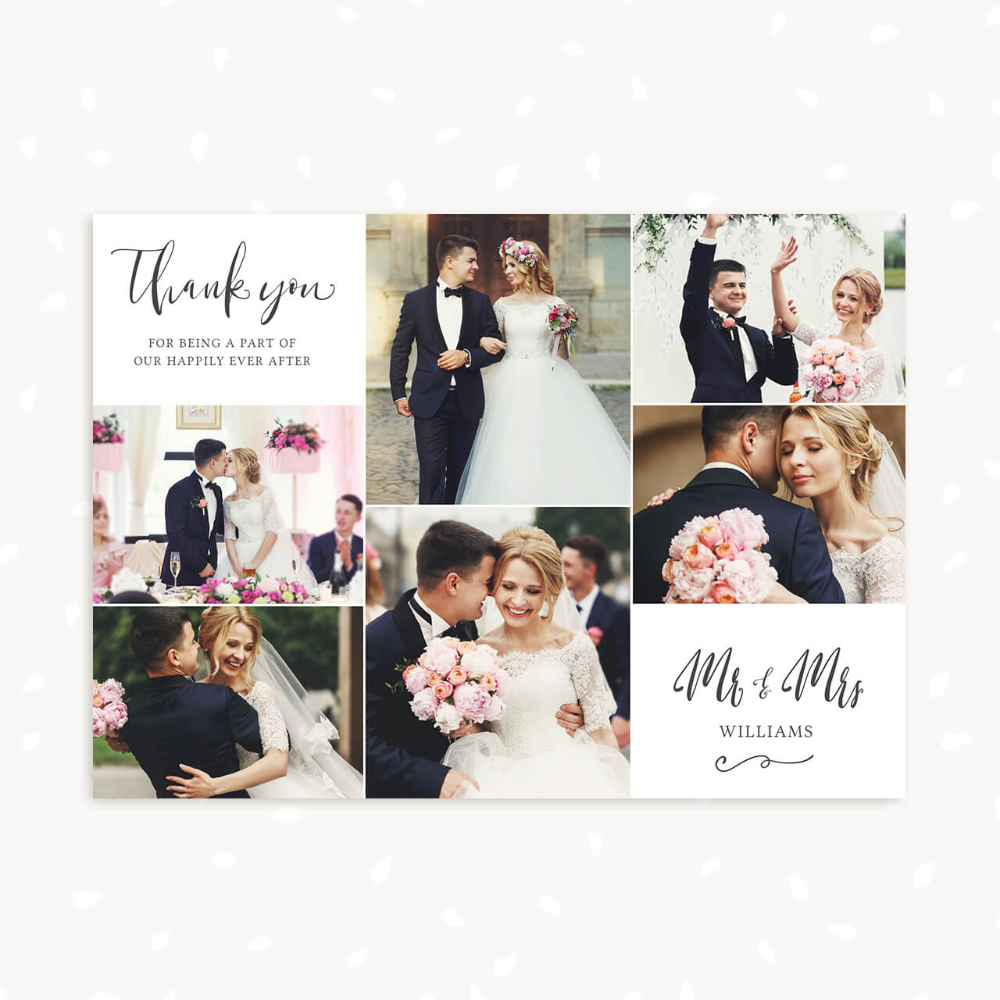Wedding Thank You Card With Photo Collage Classic Calligraphy Wedding Thank You Postcards Wedding Thank You Cards Wedding Collage