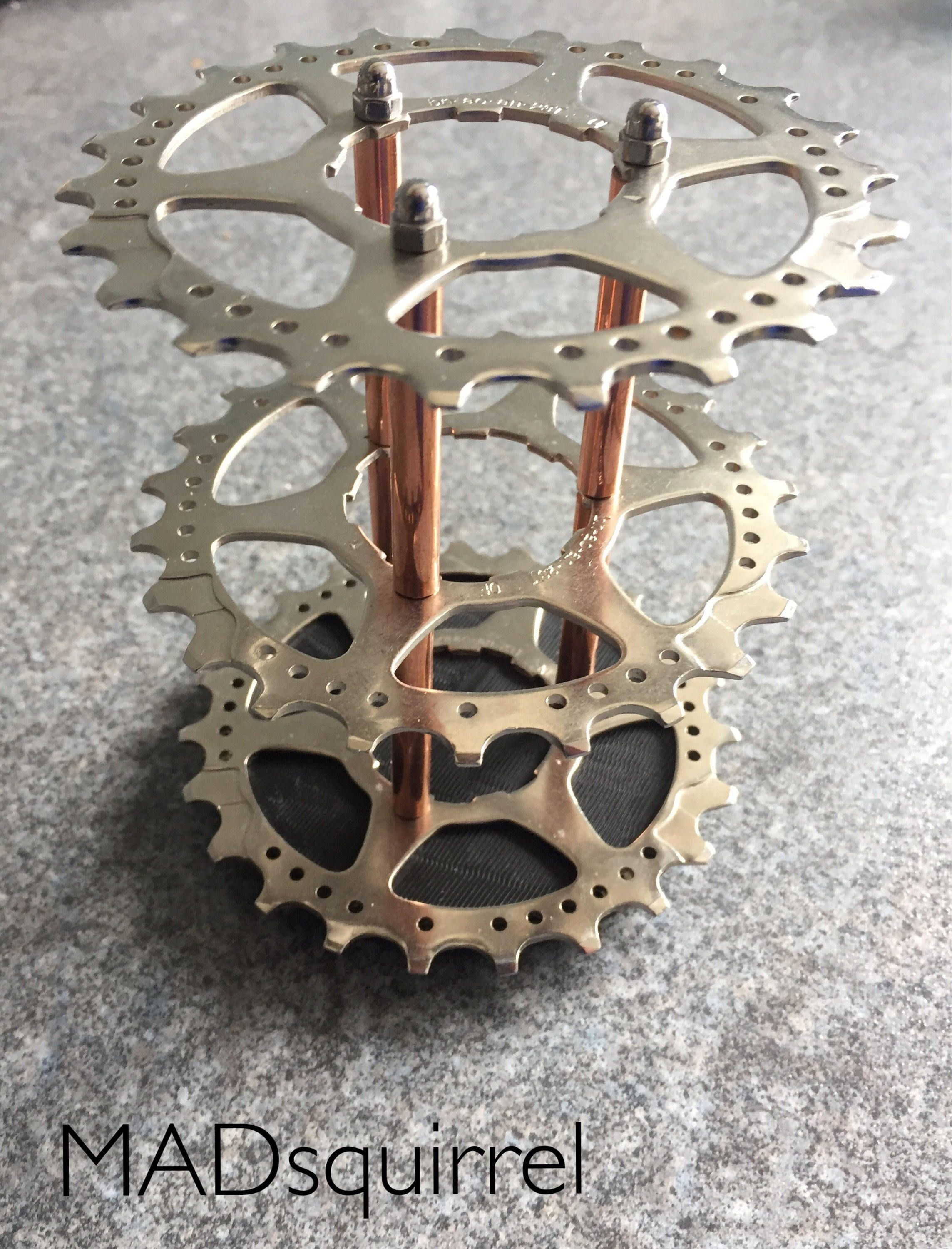 Triple Bicycle Sprocket Silver And Copper Tube Pen Brush Or