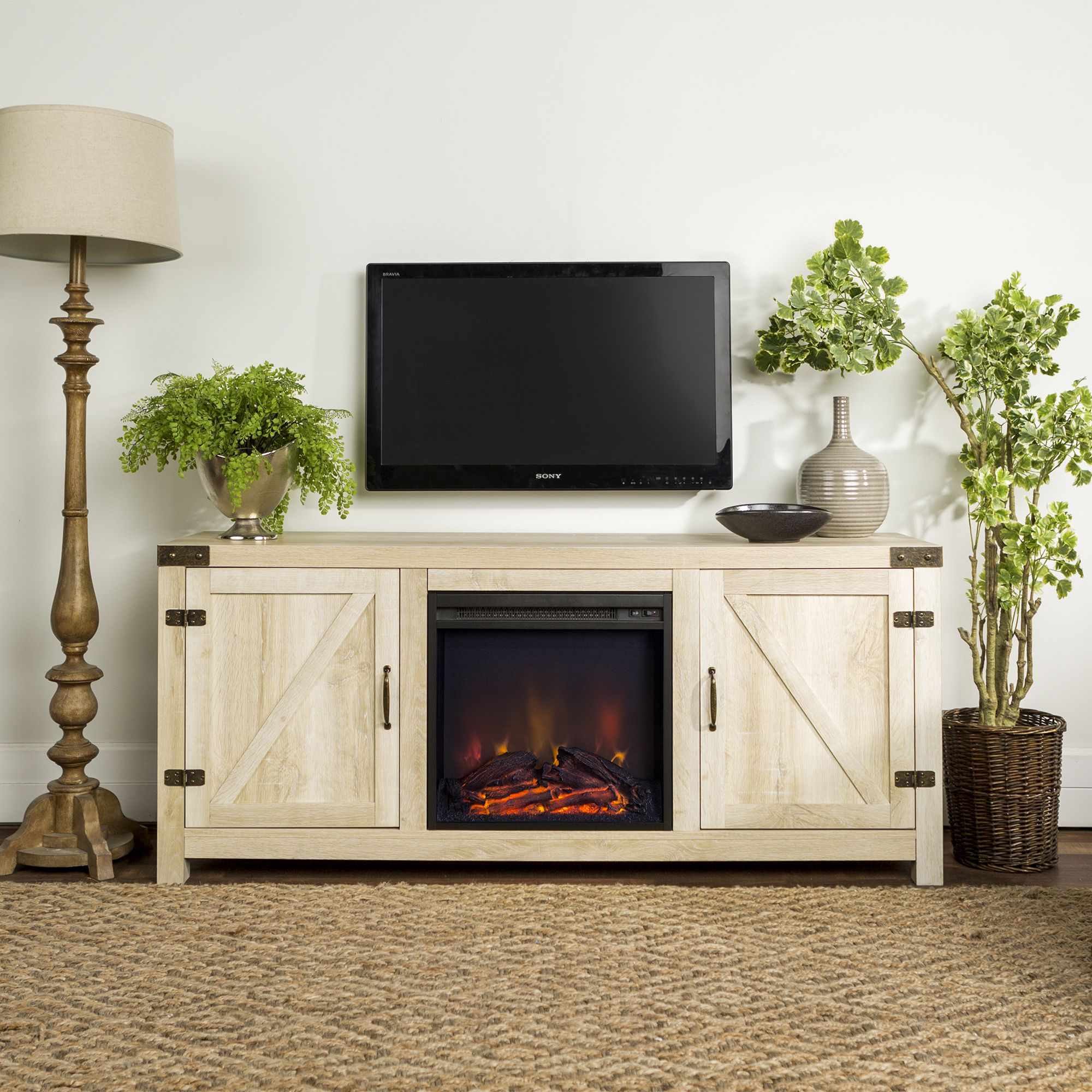 Manor Park Farmhouse Fireplace Tv Stand For Tvs Up To 65 White Oak Walmart Com In 2020 Fireplace Tv Stand Fireplace Tv Barn Door Tv Stand
