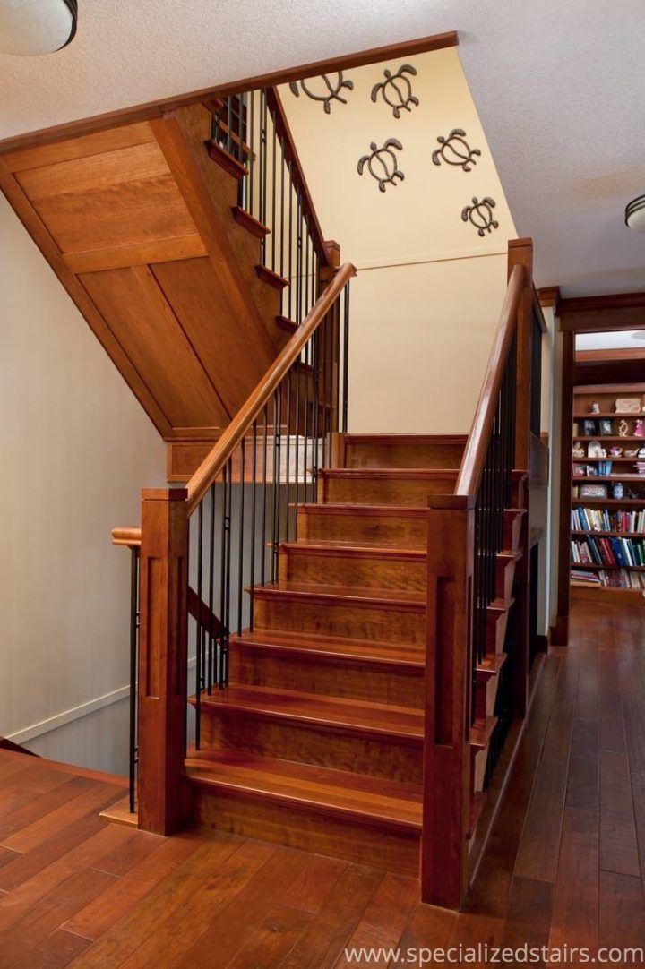Stairs | Craftsman Staircase | Cherry And Jatoba | Flag And Blank Spindles  | Newel Post